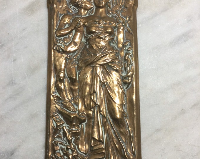 Eros and the Arts, Walter Gilbert, British arts and crafts movement, neoclassical bronze plaque, mythological