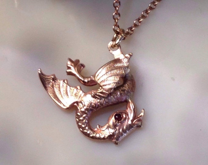 Dainty Antique Victorian 9k Gold Winged Dragon Necklace on 10k Gold chain - mythological beast, magical, fine gothic pendant little & fierce