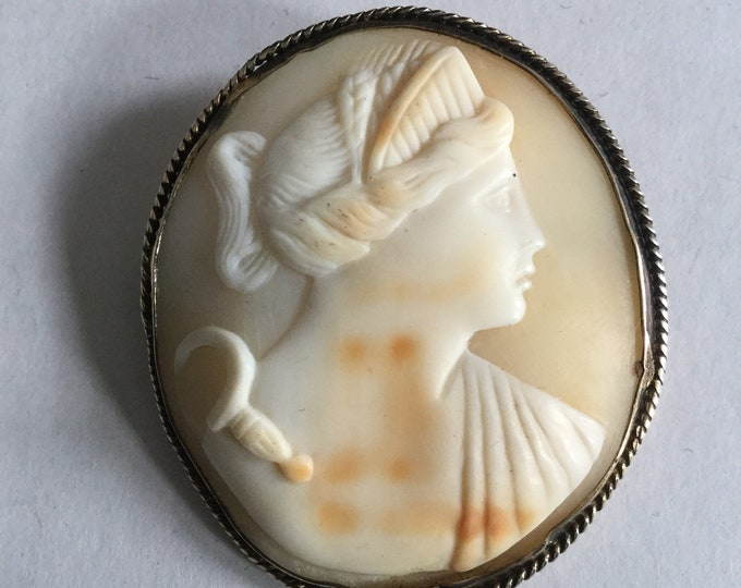 Victorian Antique Shell Cameo depicting Goddess Ceres, goddess of harvest, agriculture, grain