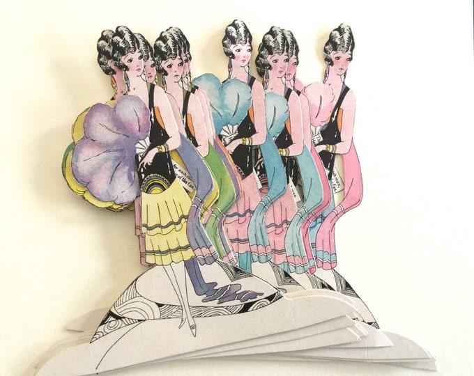 1920s vintage flapper era Art Deco party place holders, set of 12, table setting, flapper girl, art nouveau