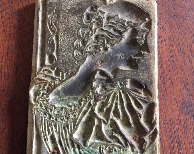 Antique Edwardian print or tile press design, Woman with Devil or Imp on her shoulder, metal printing plate, exlibris bookplate