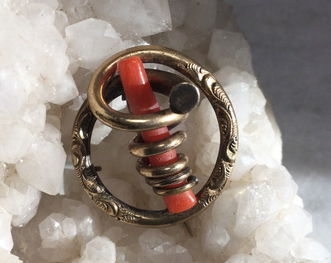 Beautiful rare Red coral Victorian brooch with pendant conversion, in early art nouveau style