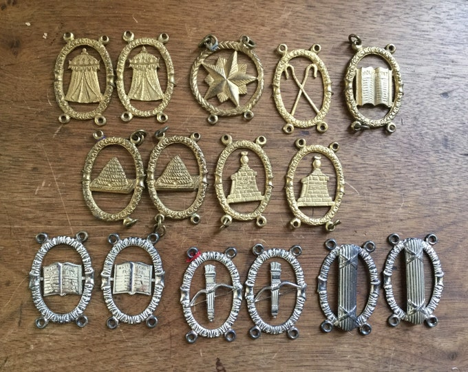 15 antique oddfellows sash badges c. 1890-1920,fraternal, secret society, oddities, beehive, bible, IOOF