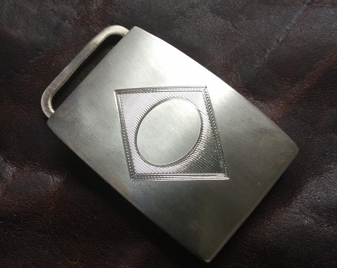 Fabulous sterling silver Charles Thomae belt buckle, diamond motif, awaiting monogram unused vintage stock
