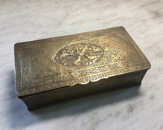 Antique Brass dresser or desk box with bestiary of animals depicted, floral, geometric patterns.
