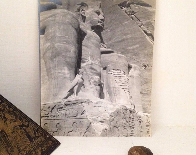 Original 1911 photograph of the Temple of Hathor, archeology, egyptian, antique photo snapshot