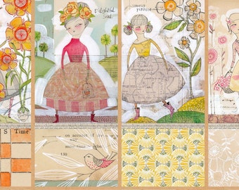 "Cori Dantini BLOOM and GROW Fabric Panel 12"" L x 42"" W 8 Small Quilt Blocks Tiny Truths Inspirational Women Sayings"