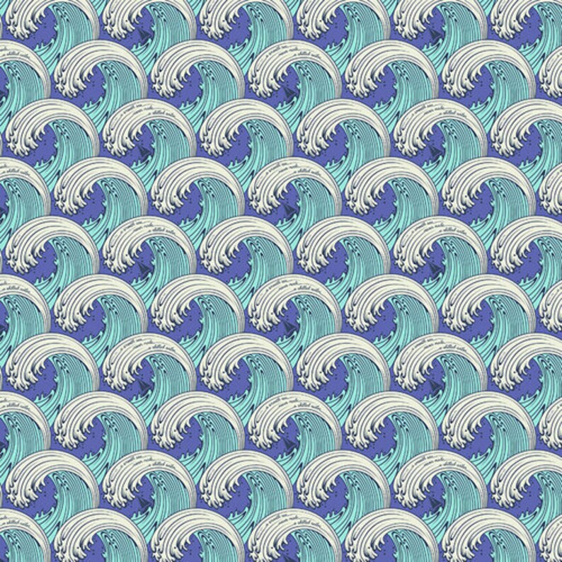 FQ or More Tula Pink WHITE CAPS Cotton Quilting Fabric Zuma Aqua Marine Aquamarine Blue Tides Tidal Waves Fat Quarter