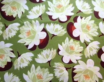 1.3 yard Ginger Blossom Water Lily Fabric Quilting Cotton Sandi Henderson White and Green Floral Destash
