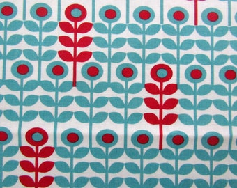 2/3 Yard Mod Floral Fabric Quilting Cotton Destash Laurie Wisbrun Robert Kaufman Red and Turquoise on White