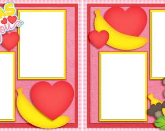 Bananas For You - Valentine - Digital Scrapbooking Valentine Quick Pages - INSTANT DOWNLOAD