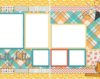 Here Kitty Kitty - Digital Scrapbooking Quick Pages - INSTANT DOWNLOAD