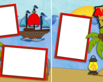 Ahoy Matey Girl - Digital Scrapbooking Quick Pages- INSTANT DOWNLOAD