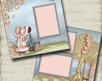 SWEET LOVE - 2 Premade Scrapbook Pages - EZ Layout 2843