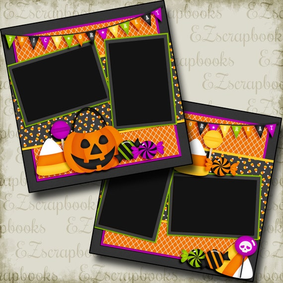 Halloween Goodies EZ Layout 3866 Premade Scrapbook Pages
