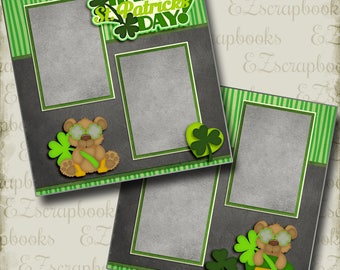 HAPPY St. PATRICK'S Day - 2 Premade Scrapbook Pages - EZ Layout 2822