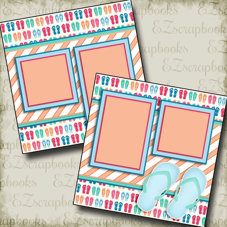 Premade Scrapbook Pages EZ Layout 2316 FUN AT THE POOL