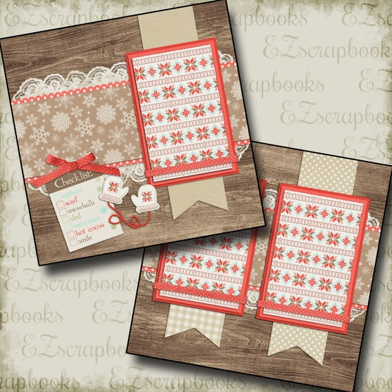 2 Premade Scrapbook Pages SWEATER WEATHER EZ Layout 120