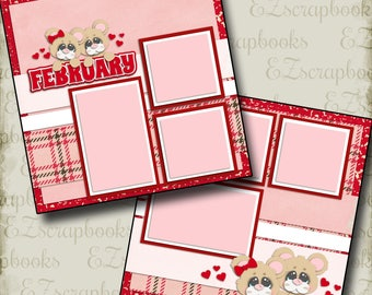 FEBRUARY - 2 Premade Scrapbook Pages - EZ Layout 357