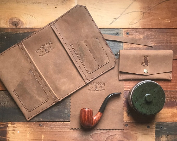 The Original Standard Pipe & Tobacco Pouch * Rough and Tumble Tan Leather