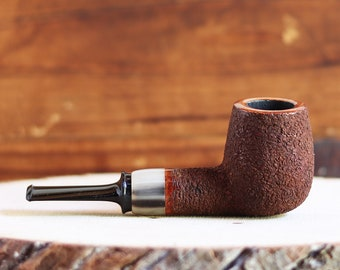 Rusticated Billiard Briar Pipe with Horn Igor Skripnik New Unsmoked Pipe