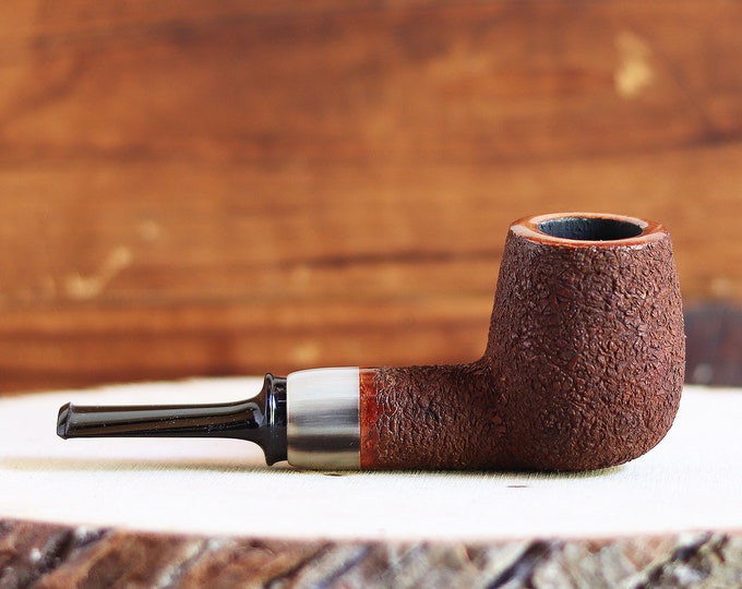 Featured listing image: Rusticated Billiard Briar Pipe with Horn Igor Skripnik New Unsmoked Pipe