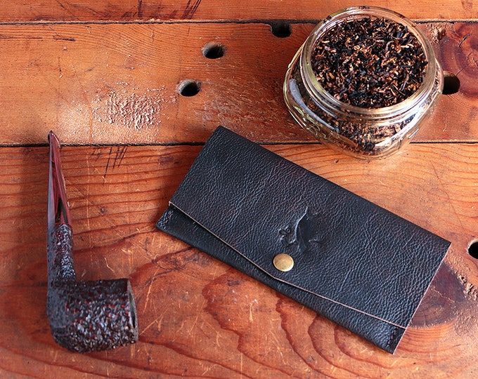 The Workhorse Tobacco Pouch - New! - Leather Pipe Tobacco Pouch - Roll Your Own - RYO - Handmade in the USA