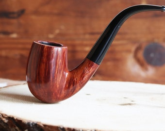 Estate Pipe Elliot Nachwalter Straight Grain Deep Bent Billiard Pipe - Made in the USA
