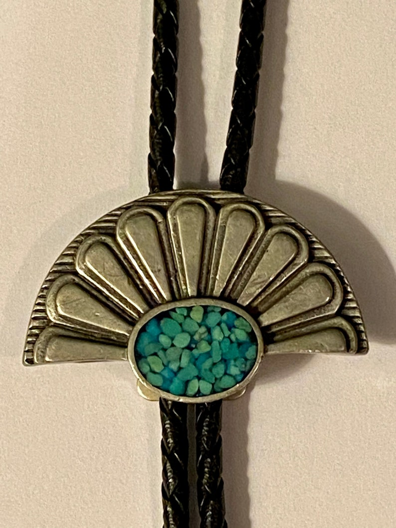 Vintage 1950/'s Turquoise /& Pewter Bolo Tie