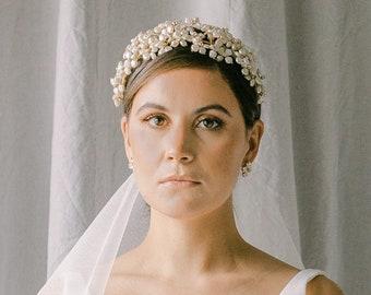 pearls bridal tiara, wedding headpiece, bridal headband, bridal crown with pearls and crystal, wedding headband, RICHESSE style 21001