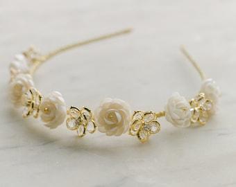 bridal tiara, wedding headpiece, bridal floral headband, bridal crown with crystal and clay flowers, wedding headband, ARDEUR style 21010