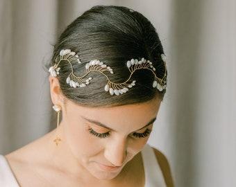 bridal vine , wedding headpiece, bridal vine headpiece, wedding hair vine with rice pearls, IVRESSE style 21013