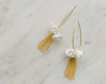 Tassel bridal earrings, wedding jewelry, blossoms earrings, swarovski crystal earrings with clay flowers and tassel, EXPRESSION style 21047