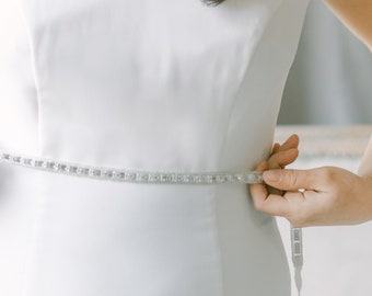 Thin Crystal sash, All around bridal belt, bridal sash with clasp, rhinestone skinny Belt, narrow wedding belt, ROMANCE style 21019