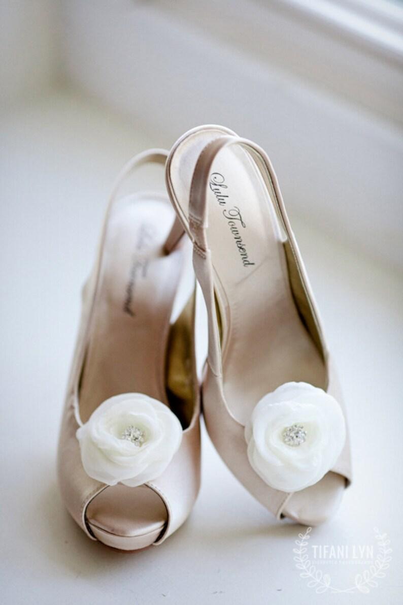 bridal shoe clips flowers shoe clips wedding shoe clips shoe embellishment Kristen ivory shoe clips soft chiffon shoe clips