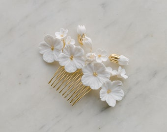 small blossoms headpiece, bridal hair comb with clay flowers, wedding headpiece, wedding headpiece, AVEUX style 21015
