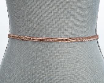 Rose gold thin bridal belt, all around bridal belt, wedding sash, Rose gold sash, Fitted bridal sash, all around sash, skinny rose gold sash