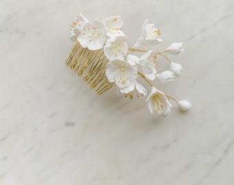 Bridal blossoms hair comb, bridal headpieces with clay flowers, wedding hair comb, wedding headpiece,  FRISSON style 21041