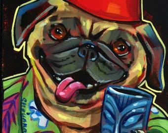 Tiki Mug Pug Print by Shaunna Peterson