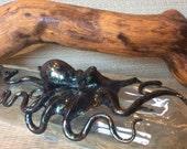 Deep Green Serpentine Kraken, Hip Flask, Kraken Flask, Decanter, Octopus Sculpture by Elstwhen.