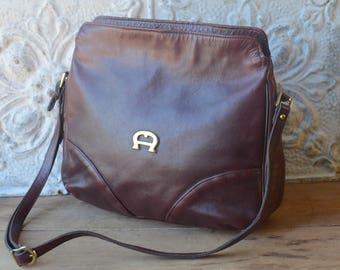 Oxblood Leather Cross Body Handbag By Etienne Aigner, Preppy Oxblood Leather Purse