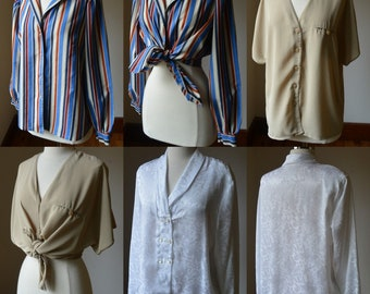 Collection Of Three Vintage Button Down Women/'s Shirts Vintage Blouse Lot Vintage Bundle Of Three Button Down Dress Blouses Size LargeXL