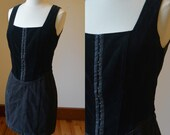 1980 39 s Short Black Corset Style Denim Velvet Dress By Guess Size Women 39 s XS, Black Fitted Above The Knee Dress By Guess Women 39 s Size 2 4