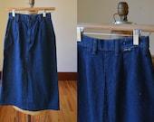 Vintage Denim Wrangler Skirt Size S, Vintage Dark Wash Denim Pencil Skirt Size Small By Wrangler, Vintage Wrangler Denim Skirt Size