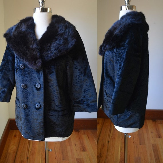 1950's Black Curly Lamb's Wool Coat With Mink Coll