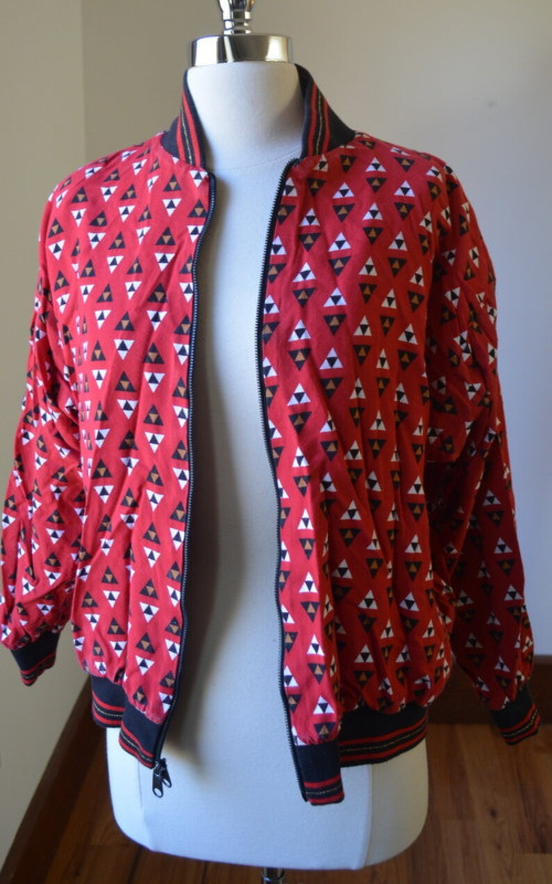 Black And Red Reversible Jacket With Padded Shoulders Size Small 80/'s Vintage Reversible Zip Up Light Weight Bomber Style Jacket Size Small