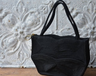 1940's Black Corde Handbag, Vintage Little Black Bag