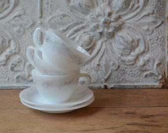 Vintage Tea For Two, Federal Glass Milk Glass Tea Cups And Saucers With Abstact Design
