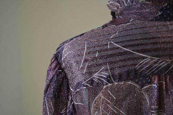 80's Vintage Long Sleeve Slightly Shear Blouse Wi… - image 9