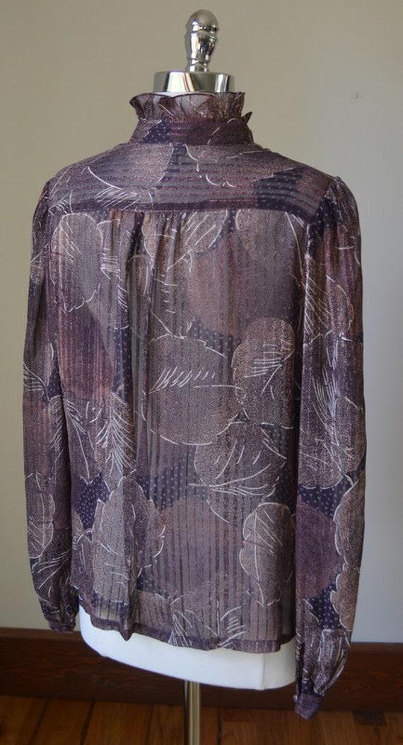 80's Vintage Long Sleeve Slightly Shear Blouse Wi… - image 7